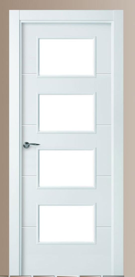 Puerta de interior lacada en blanco con cristales modelo 8514
